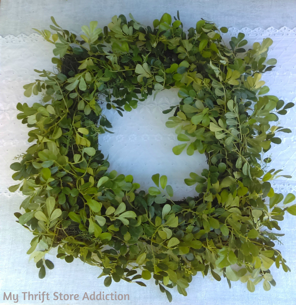 Thrift store boxwood wreath upcycle
