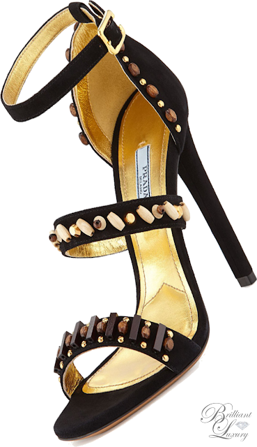 Brilliant Luxury ♦ Prada Embroidered Triple-Strap Sandal