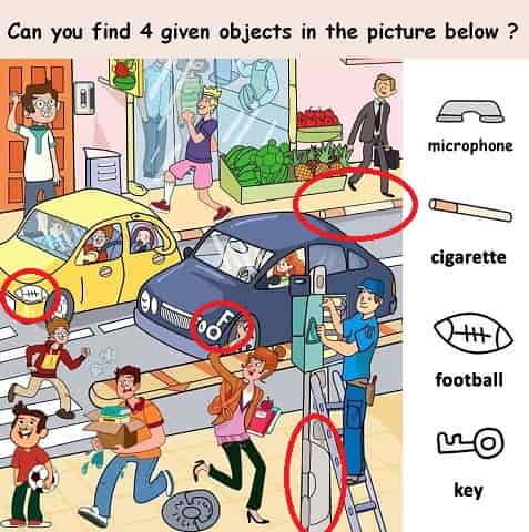 4 objects marked