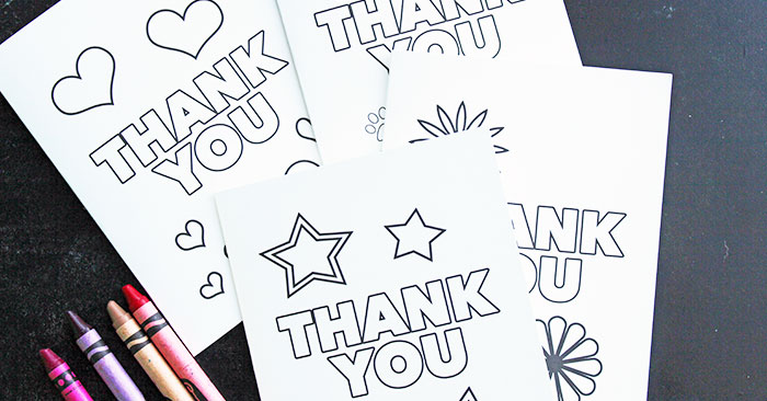 Free Printable Thank You Cards for Kids to Color  Send Sunny Day - printable thank you cards black and white