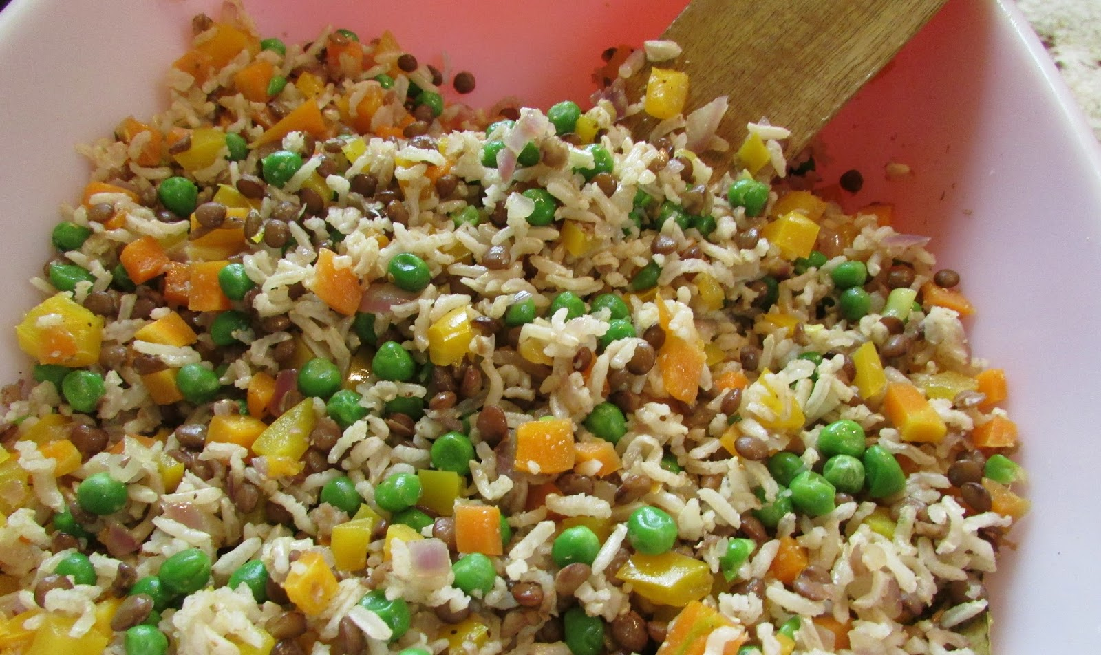 A Table For Rue, Please: Lentil Brown Rice and Pea Pilaf