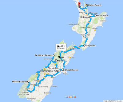NZ map overview of 2 month road trip
