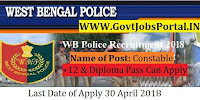 West Bengal Police Recruitment 2018-Constable