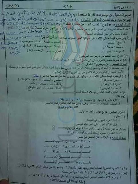 امتحان السودان 2017 لمادة اللغة العربية للثانوية العامة مع الاجابات النموذجية
