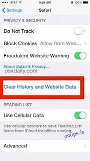 menghapus cache di iphone