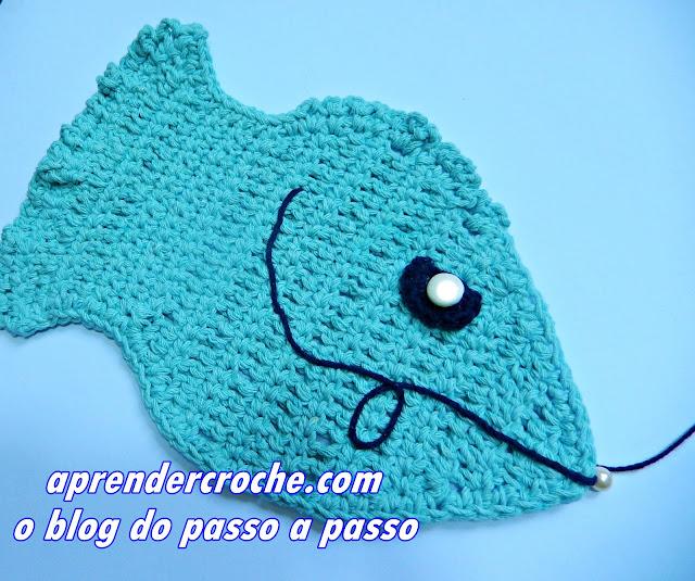 peixe em croche peixinho aplicação decoração aprender croche edinir croche videos youtube curso de croche facebook