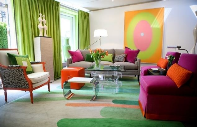 Desain Interior Ruang Tamu Minimalis Cat Dinding Warna Warni