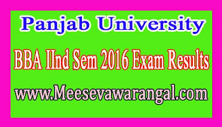 Panjab University BBA IInd Sem 2016 Exam Results