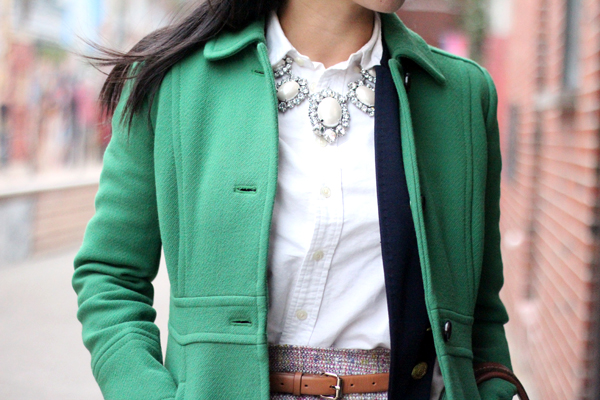Confetti Tweed Skirt & Green Coat