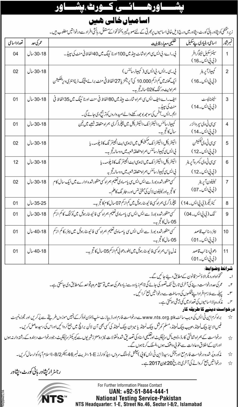 Peshawar High Court Jobs kpk 6 June 2017