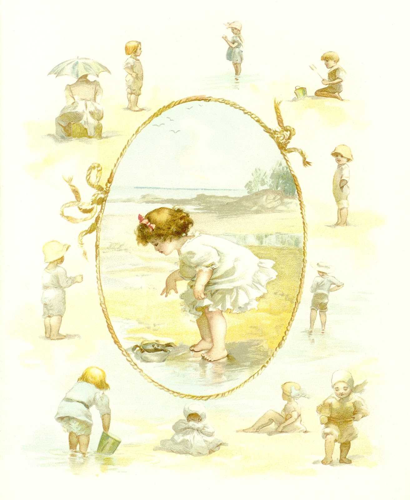 Antique Images: Vintage Baby Clip Art: Seaside Beach Frame ...