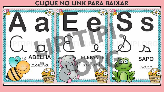 Alfabeto de Parede 4 Tipos de Letras Animais de Jardim