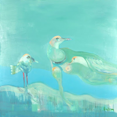 Peter Hallam - The Bird Family painting