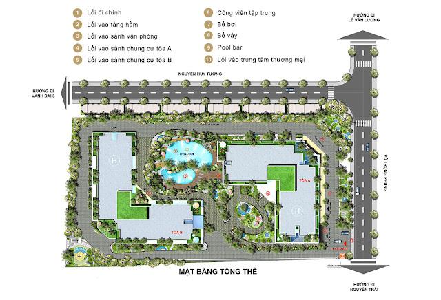 Mặt bằng tổng thể toàn khu dự án Rivera Park Vũ Trọng Phụng