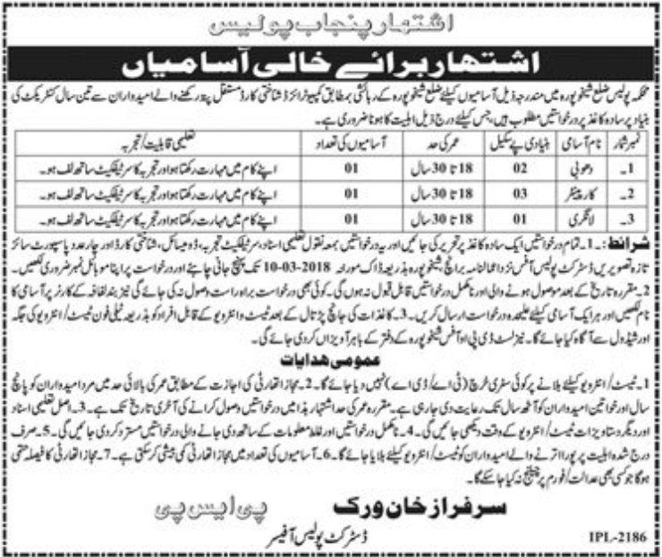 Latest Jobs in Police Department District Sheikhupura 22 February 2018