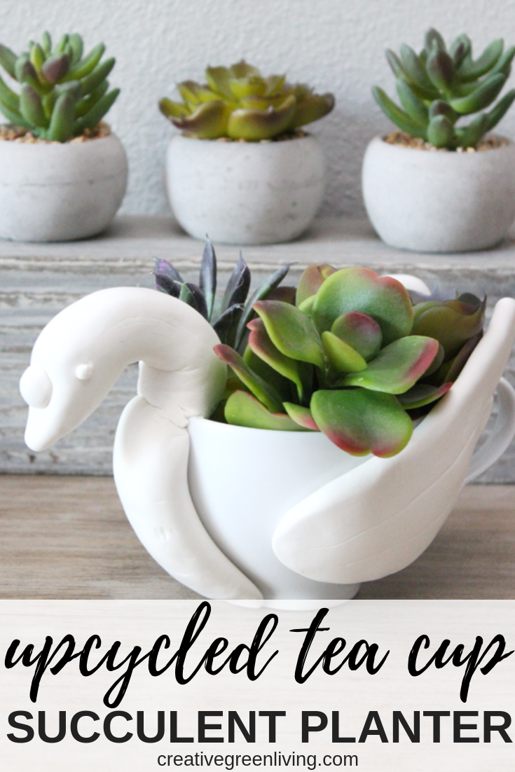 A modern take on the 12 Days of Christmas gift ideas! Instead of buying real swans, make your own DIY upcycled succulent planter from a tea cup! It's the perfect unique gift and a creative spin on the 12 Days of Christmas gift ideas. It's a fun way to do 12 Days of Christmas gifts for teachers or for friends. (created in partnership with @PNC) #DIY #ChristmasPriceIndex #creativegreenliving #creativegreenchristmas #christmasgifts #swan #succulents #succulove