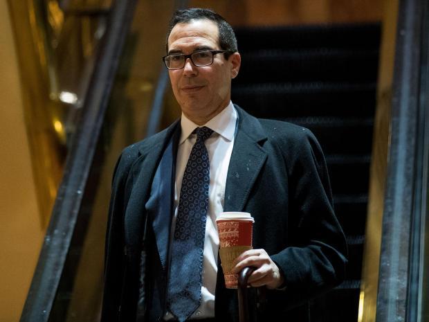 Steven Mnuchin, um ex-sócio do banco de investimento, para ser seu secretário do Tesouro