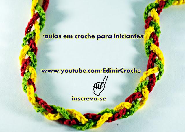Como fazer crochê Aula de Crochê para Iniciantes Laçada Inicial Aprender Croche com Edinir-Croche