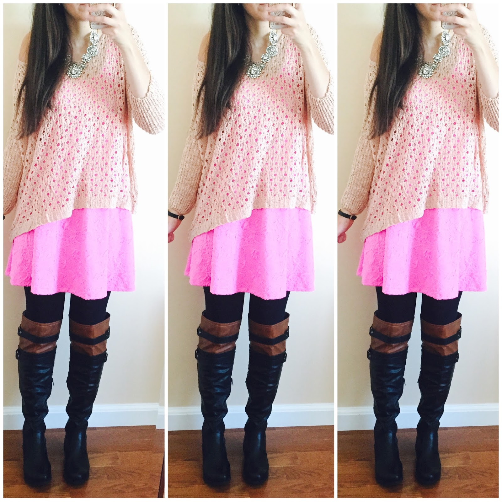 20 ways to style a pink dress, pink blush, pink dress with a sweater over it, knit sweater, brown over the knee boots, amiclubwear, fall outfit, how to style a dress for fall with boots,  two toned over the knee boots, pink knit sweater over a pink dress, how to style a knit sweater, fall to winter outfit, winter outfit,