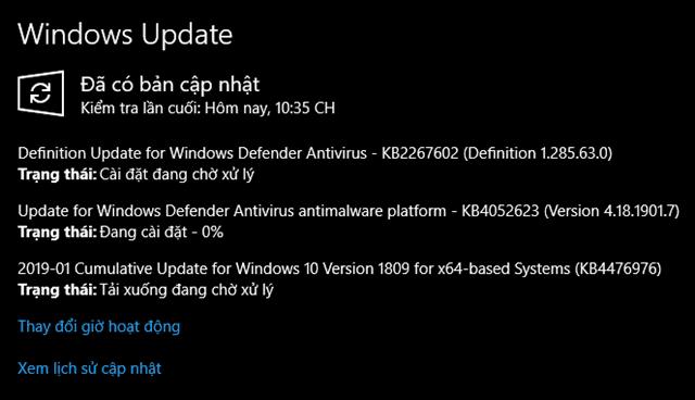 Bản cập nhật tháng 1, 2019 - KB4476976 cho Windows 10 version 1809