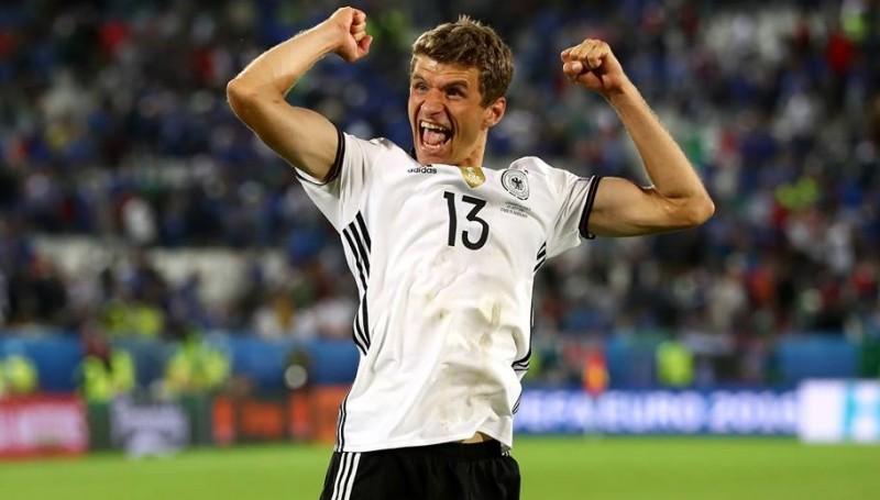 Thomas Mueller saat tampil melawan Italia