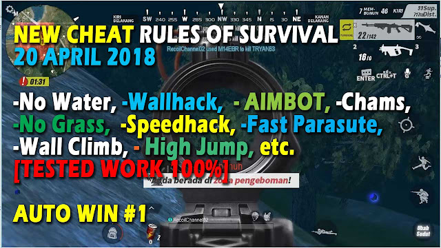 Cheat Rules of Survival Histidin 1.0 Wallhack All Setting! Aimbot Perfect, Speed, Walk on Water, Wallhack, ESP Menu, Jump, No Gras etc