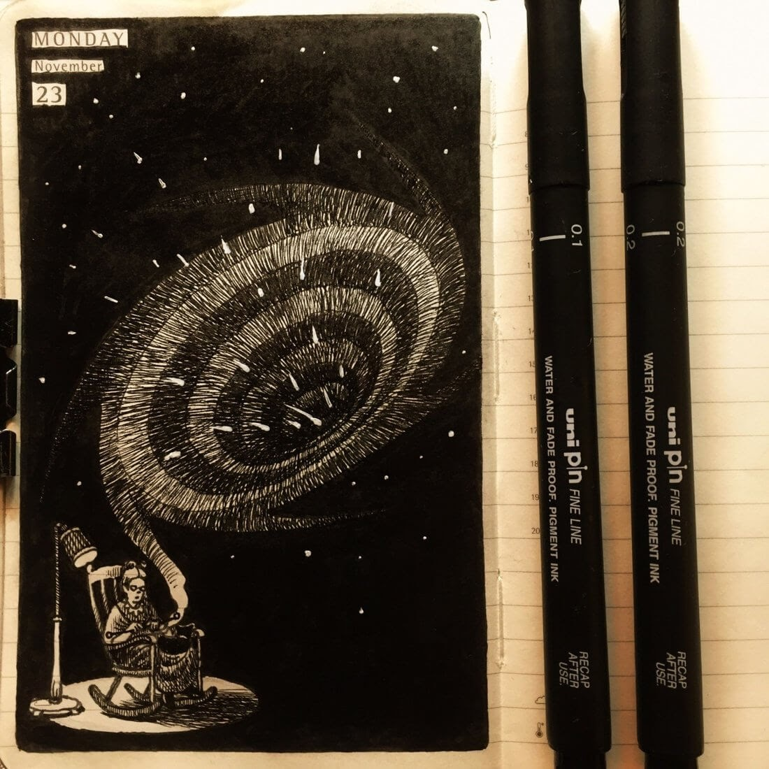 12-Knitting-a-Black-Hole-Nina-Johansson-Moleskine-Diary-of-Surreal-Ink-Drawings-www-designstack-co