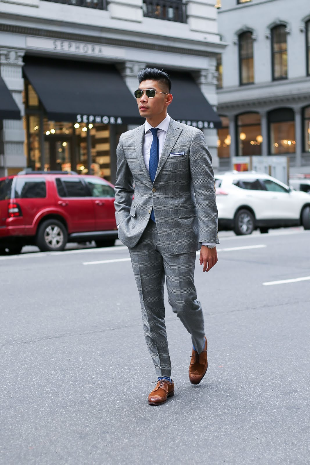 GQ Holiday Style Report, Peak Lapel, Glen Plaid, Custom Made Suit