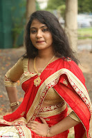 Akshara in Red Saree Golden Choli at LV Movie Makers Production No 1 Movie Opening ~  Exclusive 005.JPG