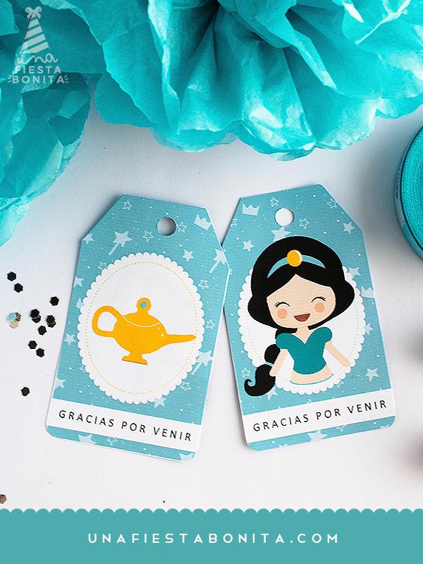 cumpleaños etiquetas para souvenirs princesa jazmin