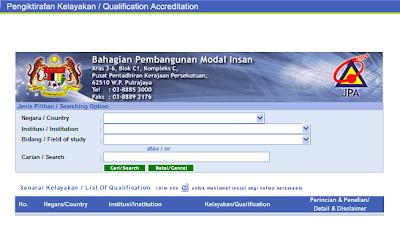 Semak Kelayakan Akreditasi di Jabatan Perkhidmatan Awam (JPA)