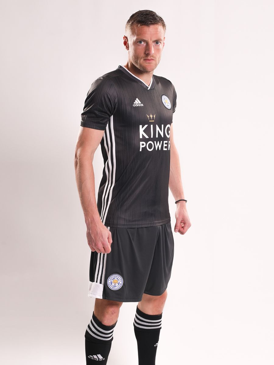 4bfcd90bb Anthracite shorts and socks complete the new Leicester City 2019-2020 away  kit.