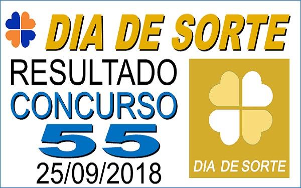 Resultado do Dia de Sorte concurso 55 de 25/09/2018 (Imagem: Informe Notícias)