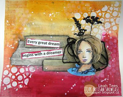 Mixed Media Art Journal Page Leah Tees OOAK Artisans