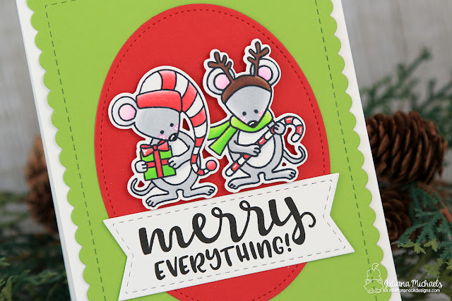 Merry Everything Mouse Christmas Card by Juliana Michaels featuring Newton's Nook Designs Naughty or Mice Stamp Set