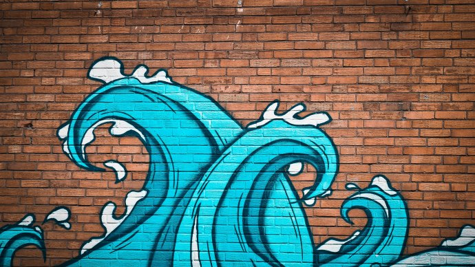 Wallpaper: Graffiti Waves on Wall