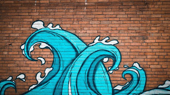Graffiti Waves on Wall