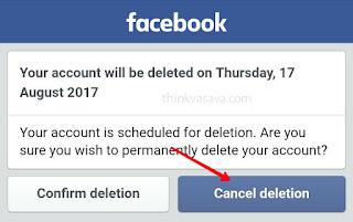 Fb account recover karne ke liye cancel deletion par click kare