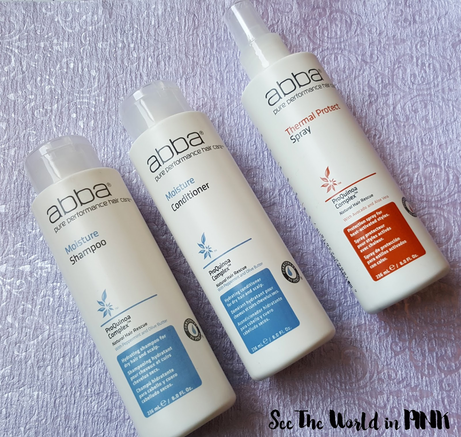 ABBA Hair Product Reviews - Moisture Shampoo & Conditioner and Thermal Protect Spray
