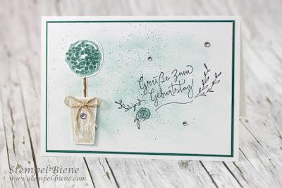 Geburtstagskarte Stampinup; Geburtstagskarte mit Baum; Baum basteln; Paint Play; Stempelbiene; Stampinup Workshop; Teamkarte