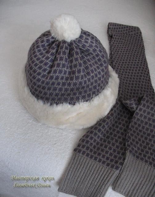 Комплект Зимняя сирень Шапочка и шарф