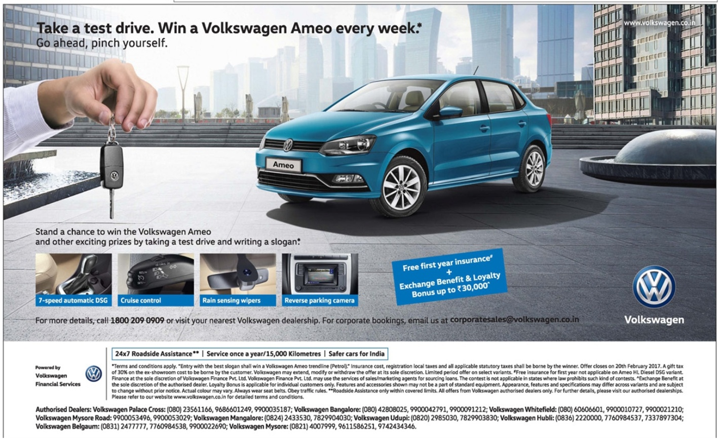 Take a test drive and win a volkswagen ameo car february 2017 festival offers