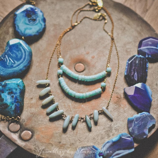 Simona Mar: Amazonite chips & Peruvian blue Opal necklaces by Simona Mar