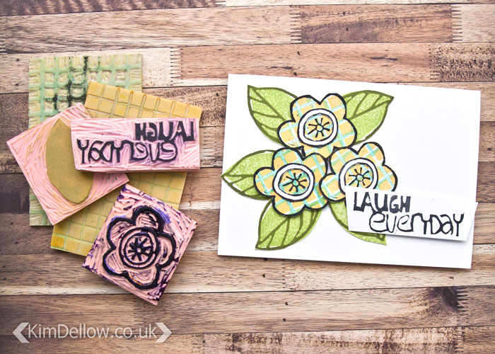 More details of the floral design card using hand carved stamps by Kim Dellow