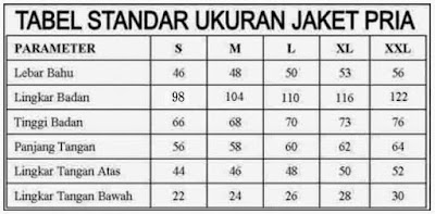 gambar tabel ukuran jaket kulit pria