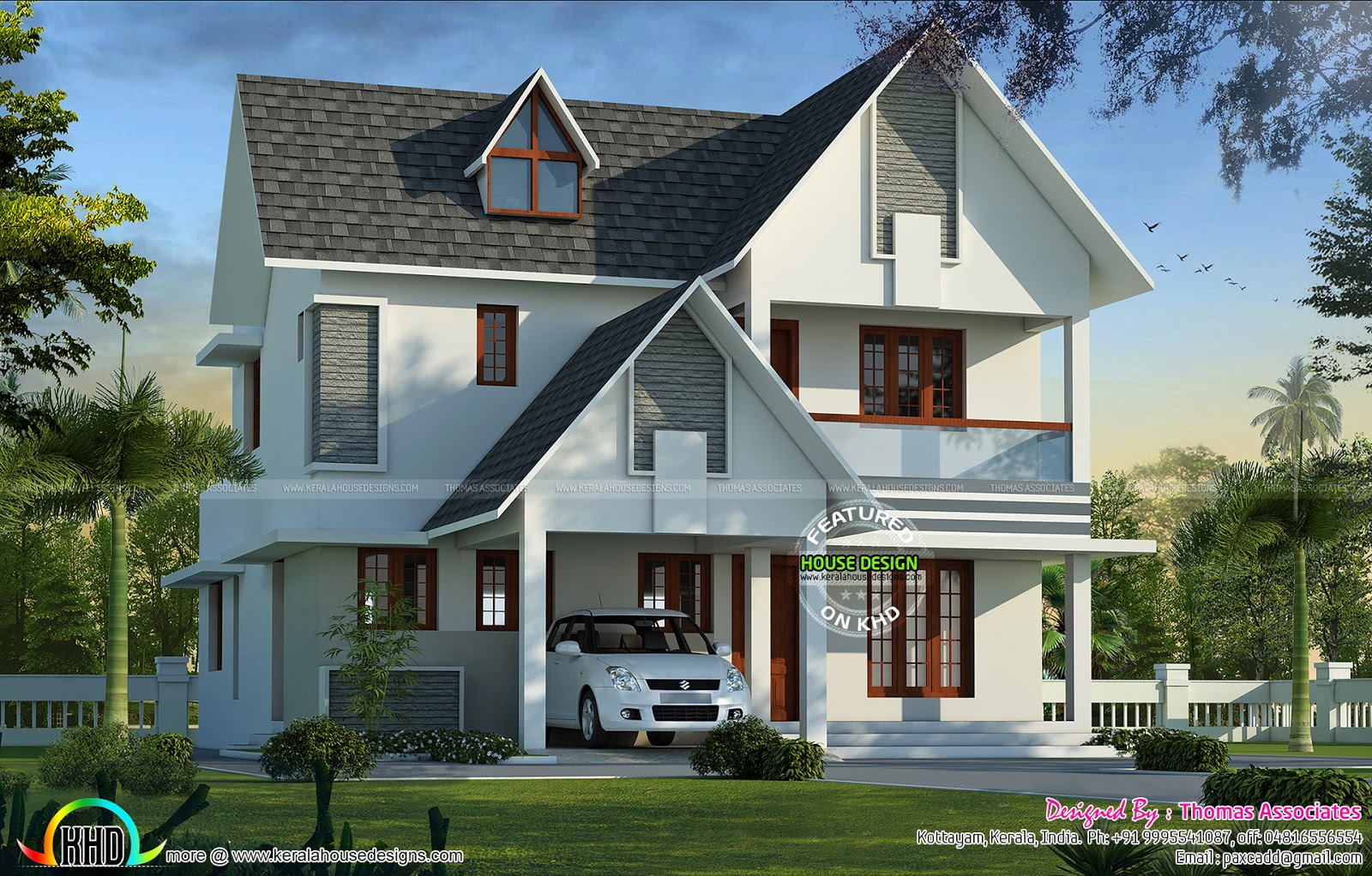 European model house by thomas associates kerala home for European house plans with photos