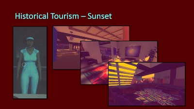 Title: Historical Tourism - Sunset. Features an image of the main character, Angela, viewing herself in a mirrow. She is a black woman with dark skin and a large dark brown afro hair style. She is wearing a teal body suit and matching headband. The remaining three images are interiors from the apartment showing late 60s mod styling and bright colors contrasted against dark, moody lighting.