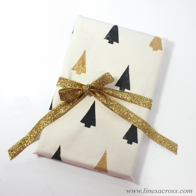 DIY gift wrap with stamped fabric
