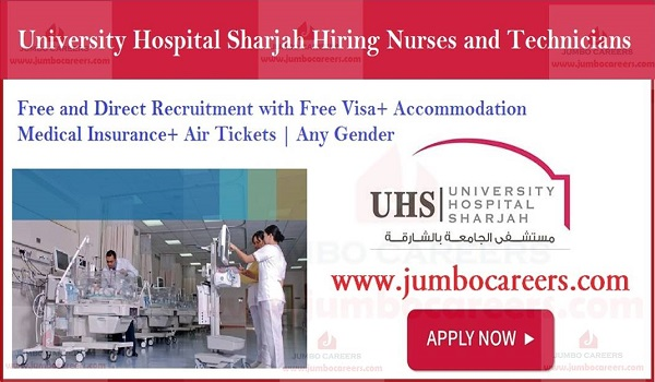 Sharjah hospital jobs with accommodation, Eligibility criteria of university hospital jobs Sharjah,