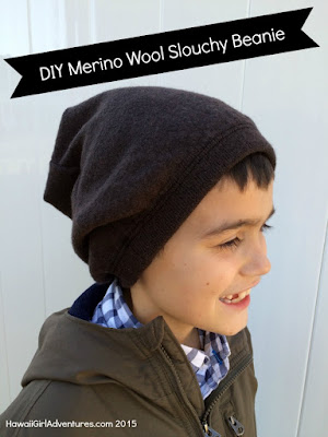 DIY, outdoor, clothing, gear, sewing, 100% italian merino wool, slouchy beanie, upcycle, recycle, creative reuse